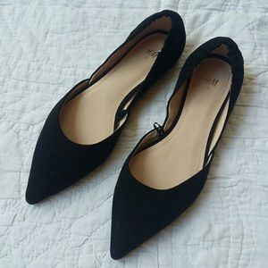 H&M black suede pointed D'orsay flats size 36